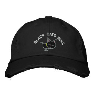 Black Cats Rule Embroidered Hat