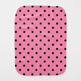 Black center Small Black Polka Dots on hot pink Burp Cloth