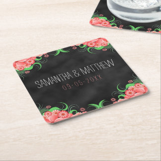 Black Chalkboard Pink Floral Square Paper Coasters