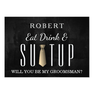 Black Chalkboard Suit-up Will you be my groomsman Card