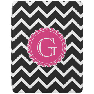 Black Chevron Hot Pink Monogram iPad Cover