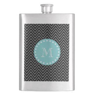 Black Chevron Pattern   Teal Monogram Hip Flask