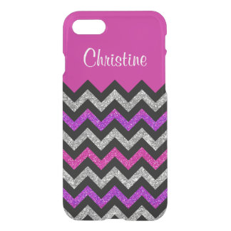Black Chevron Pink Glitter Uncommon iPhone 7 Case