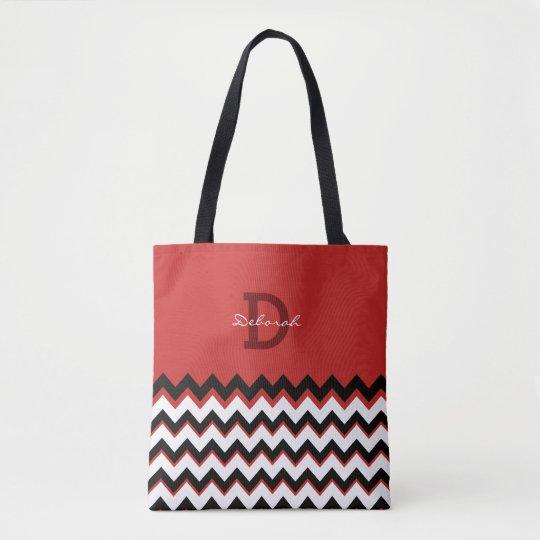 black chevron stripes + name on red tote bag