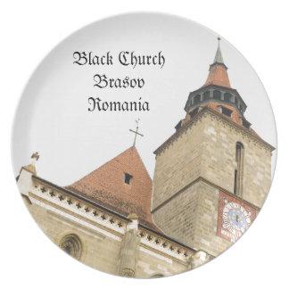 Black church in Brasov, Romania Dinner Plates