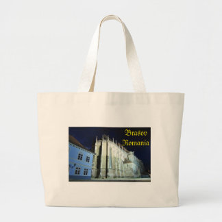 Black church in Brasov, Romania Large Tote Bag