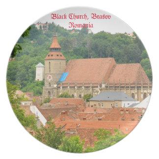 Black church in Brasov, Romania Party Plate