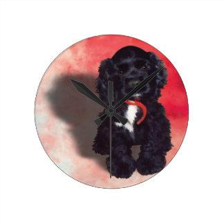 Black Cocker Spaniel Puppy - Abby Round Clock
