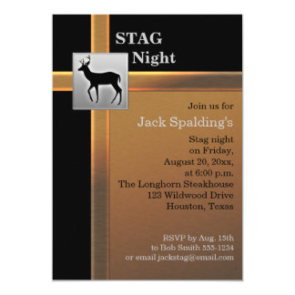 Black, Copper, and Silver Stag Invitation
