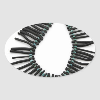 Black Coral Turquoise Necklace Southwest Jewelry Oval Sticker