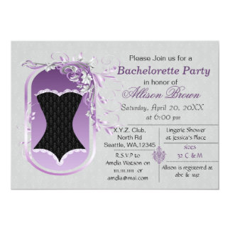black corset elegant bachelorette party invite