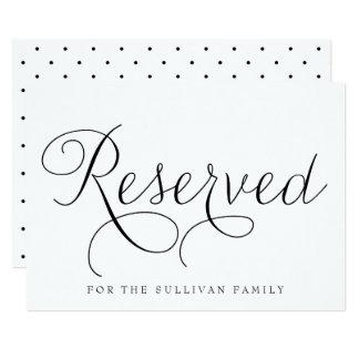 Black Dainty Script Reserved Wedding Sign 13 Cm X 18 Cm Invitation Card