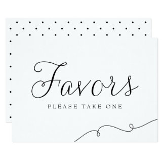 Black Dainty Script Wedding Favors Sign Card