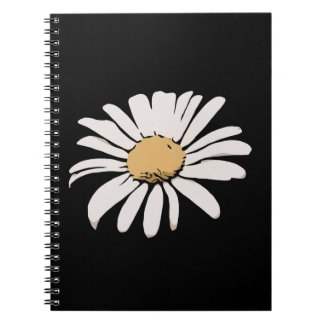 Black Daisy Floral Photo Notebook