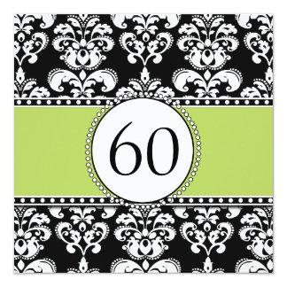 Black Damask 60th Birthday Invitation   Green