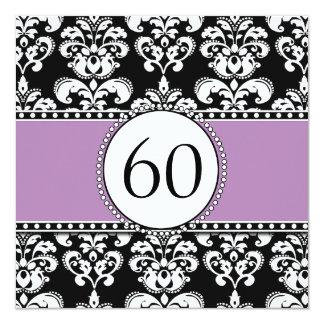 Black Damask 60th Birthday Invitation | Mauve
