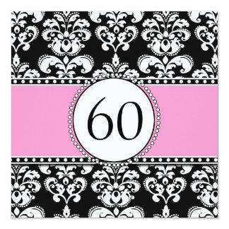 Black Damask 60th Birthday Invitation   Pink