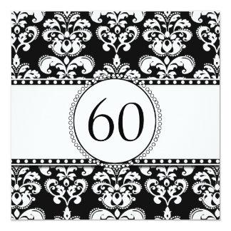 Black Damask 60th Birthday Invitation   White