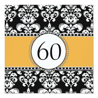 Black Damask 60th Birthday Invitation | Yellow