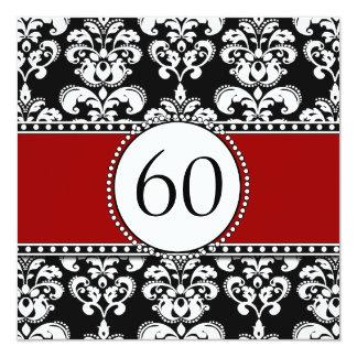Black Damask 60th Birthday Invitations Red