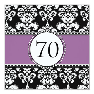 Black Damask 70th Birthday Invitation Purple Mauve