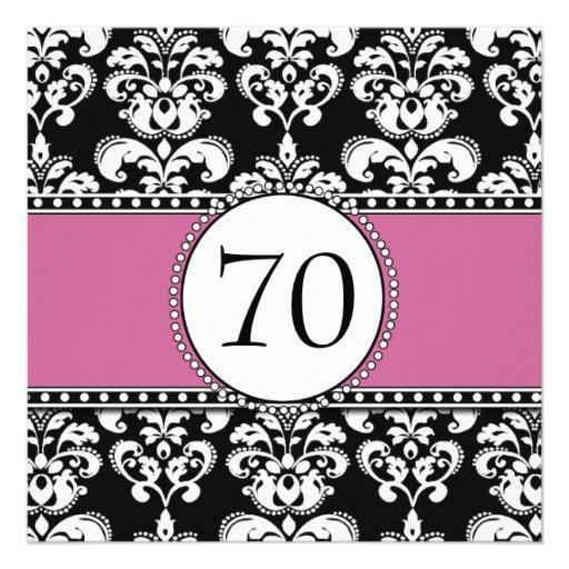Black Damask 70th Birthday Invitations Dusty Rose