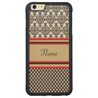 Black Damask Monogram Carved® Maple iPhone 6 Plus Bumper Case
