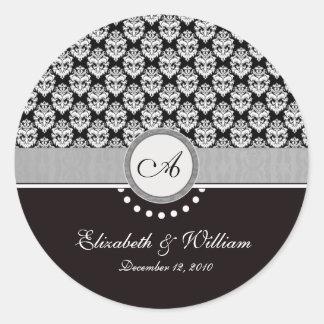 Black Damask Monogram Wedding sticker