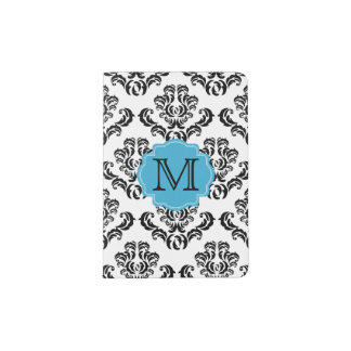 Black Damask Pattern Monogram Passport Holder