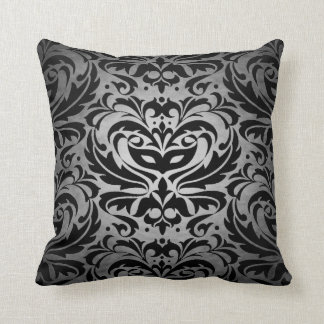 Black Damask Silver Scroll Reversible  Pillow
