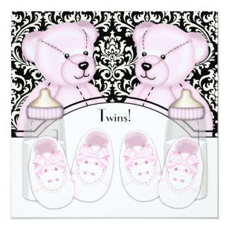 Black Damask Teddy Bear Twin Girl Baby Shower Card