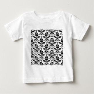Black Damask Tile Pattern Baby T-Shirt