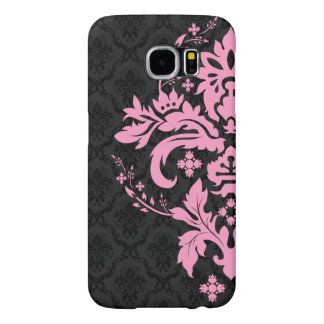 Black Damasks With Floral Pink Lace Ornament Samsung Galaxy S6 Cases