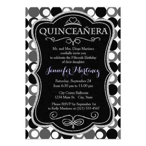 Black Dark Gray and White Polka Dots Personalized Invites