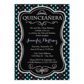 Black Dark Gray Aqua Turquoise Stars Personalized Invitation