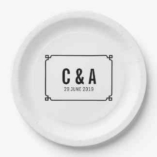 Black Deco Chic Wedding Paper Plate