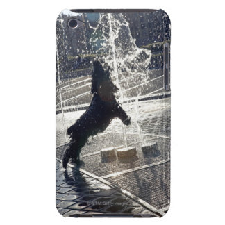 Black dog jumping through fountain on waterside iPod touch cover