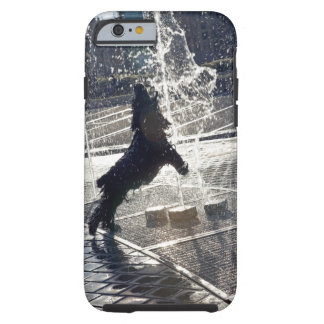 Black dog jumping through fountain on waterside tough iPhone 6 case