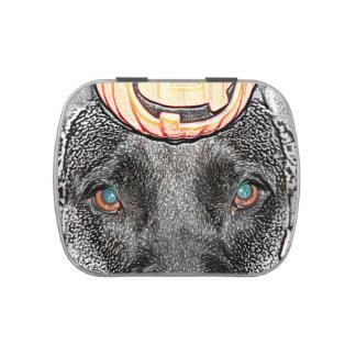 black dog pumpkin on head sketch candy tin
