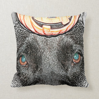 black dog pumpkin on head sketch throw pillows