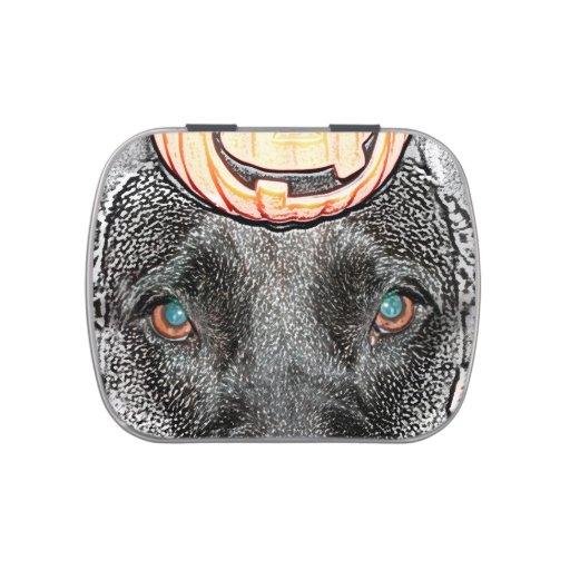 black dog pumpkin on head sketch jelly belly tin
