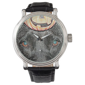 black dog pumpkin on head sketch wrist watch