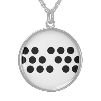 Black Dot Circle Sterling Silver Round Necklace