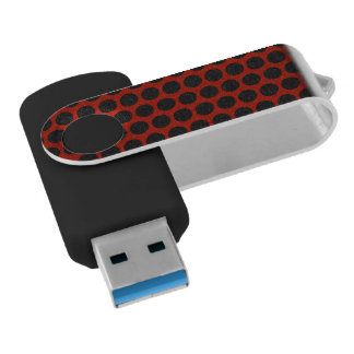 Black Dot on Red Flash USB Flash Drive