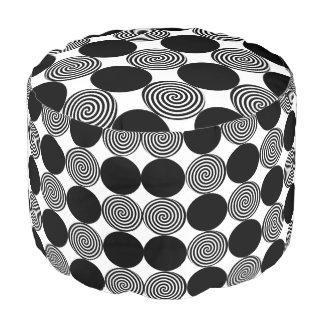 Black Dots & Swirls Pouf