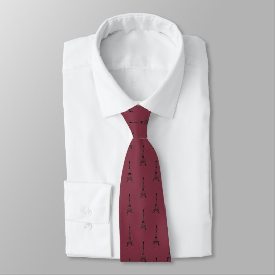 Black Eiffel tower pattern on burgundy red Tie