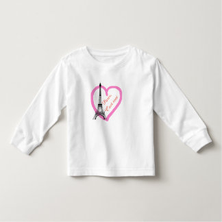 Black Eiffel tower pink heart on white Toddler T-Shirt