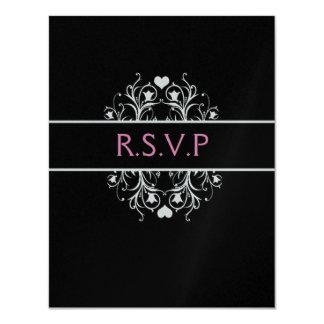black elegant wedding RSVP Card