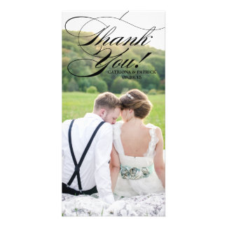Black Elelgant Script Wedding Thank You Phoot Card Photo Card Template