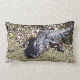 Black Everglade Alligator Staring at You Lumbar Cushion